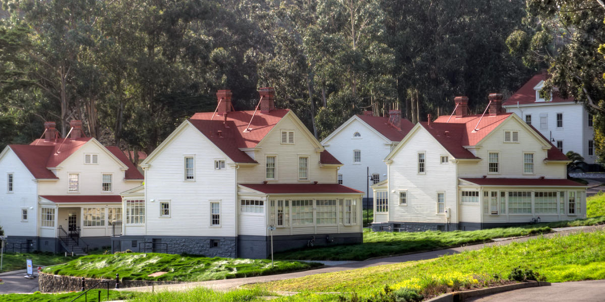 Red-topped homes in Fort Baker