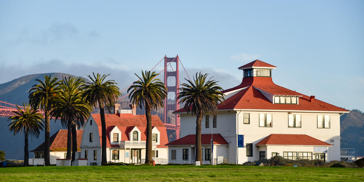 A view from Crissy Field looking out through buildings and palm trees at the Golden Gate Bridge.