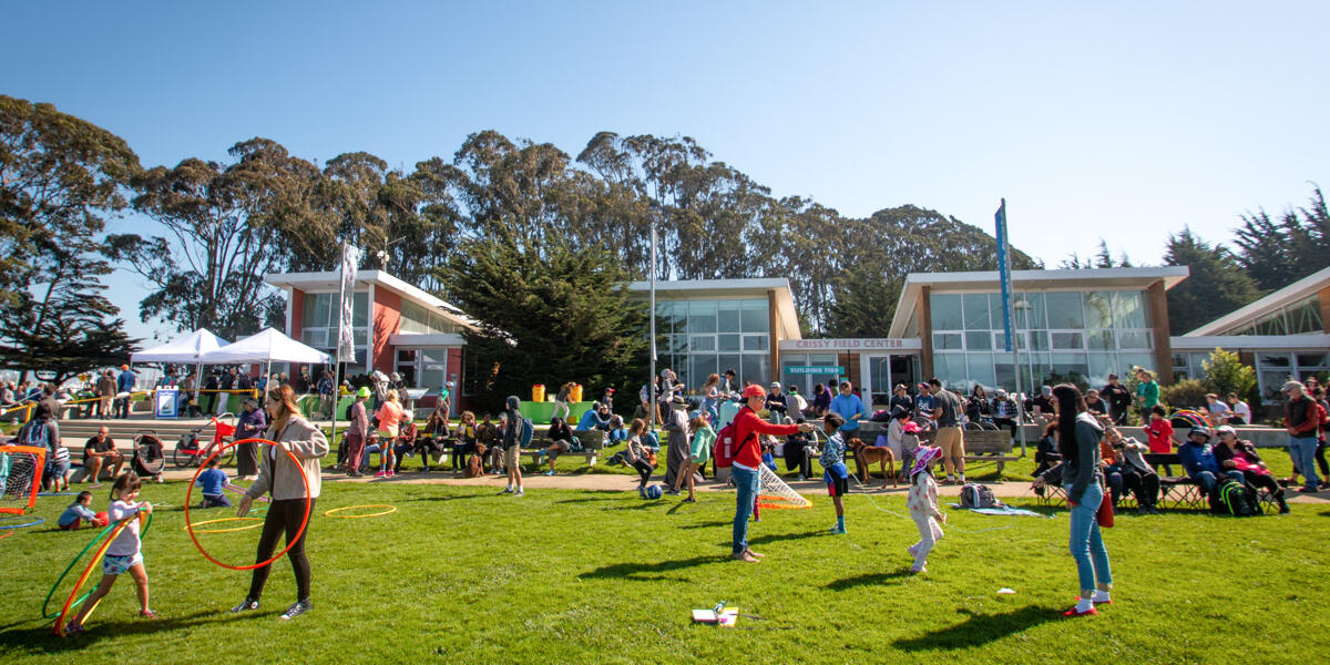 Park visitors enjoy fun activities and sunshine on Crissy Field Day.