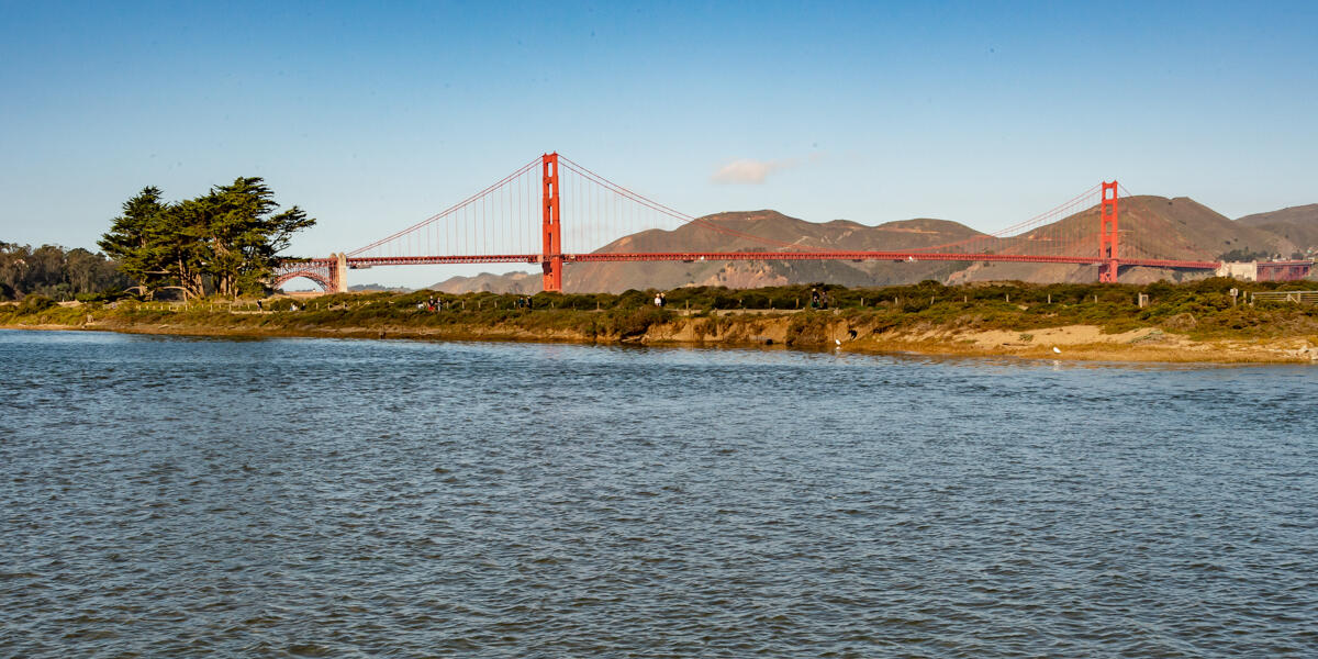 A view of the Golden Gate Bridge from the Tidal Marsh at Crissy Field.