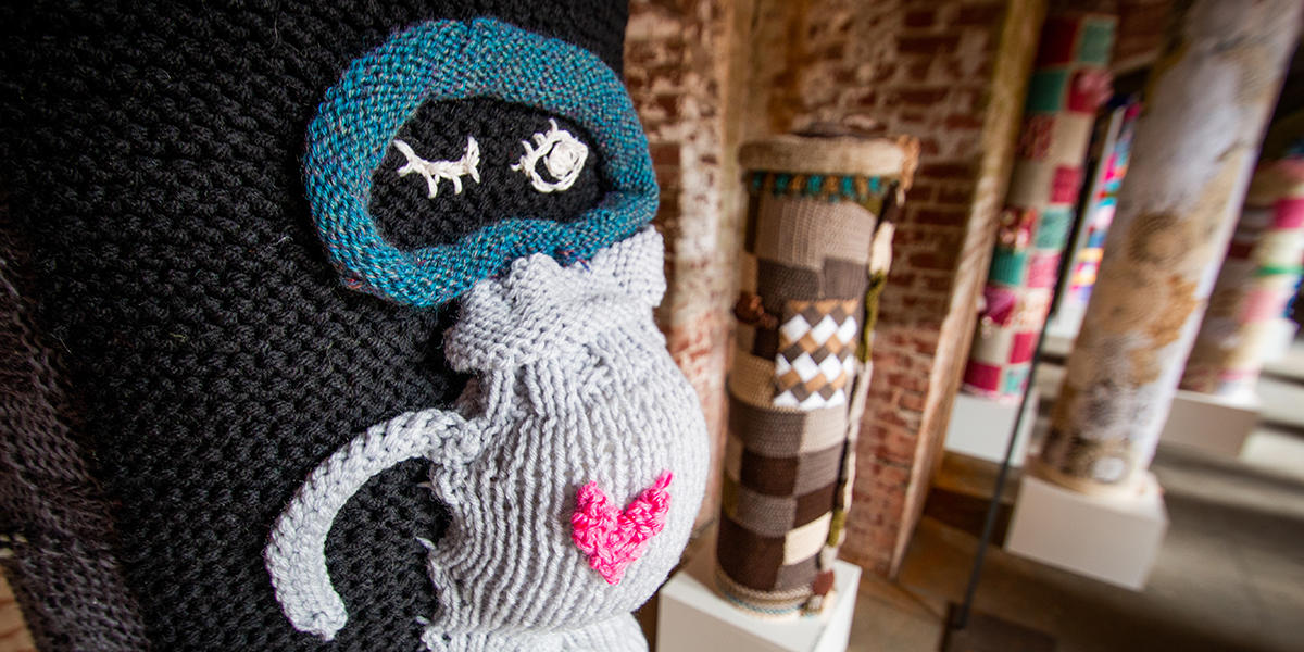 Robot made of yarn at Fort Point