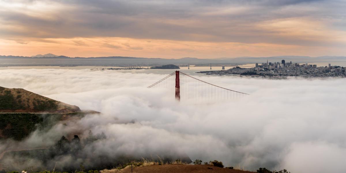 Fog waves over the Golden Gate Bridge