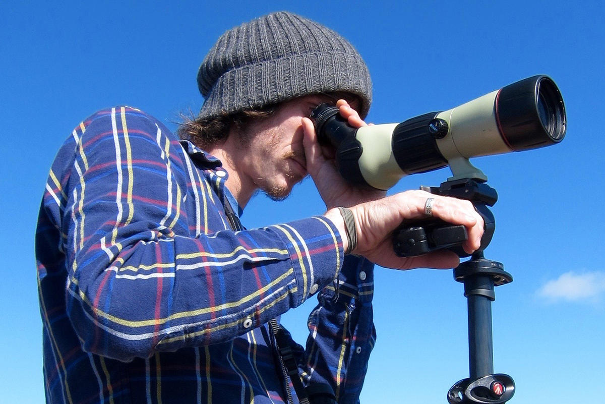 The spotting scope is an essential tool for hawkwatchers