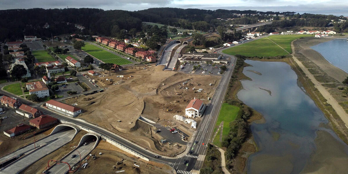 Aerial view of the construction site for the Presidio Tunnel Tops.