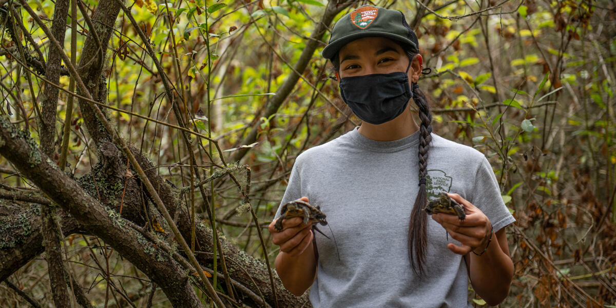 National Park Service worker with a face mask poses for a photograph during the western pond turtle release at Rodeo Lagoon.