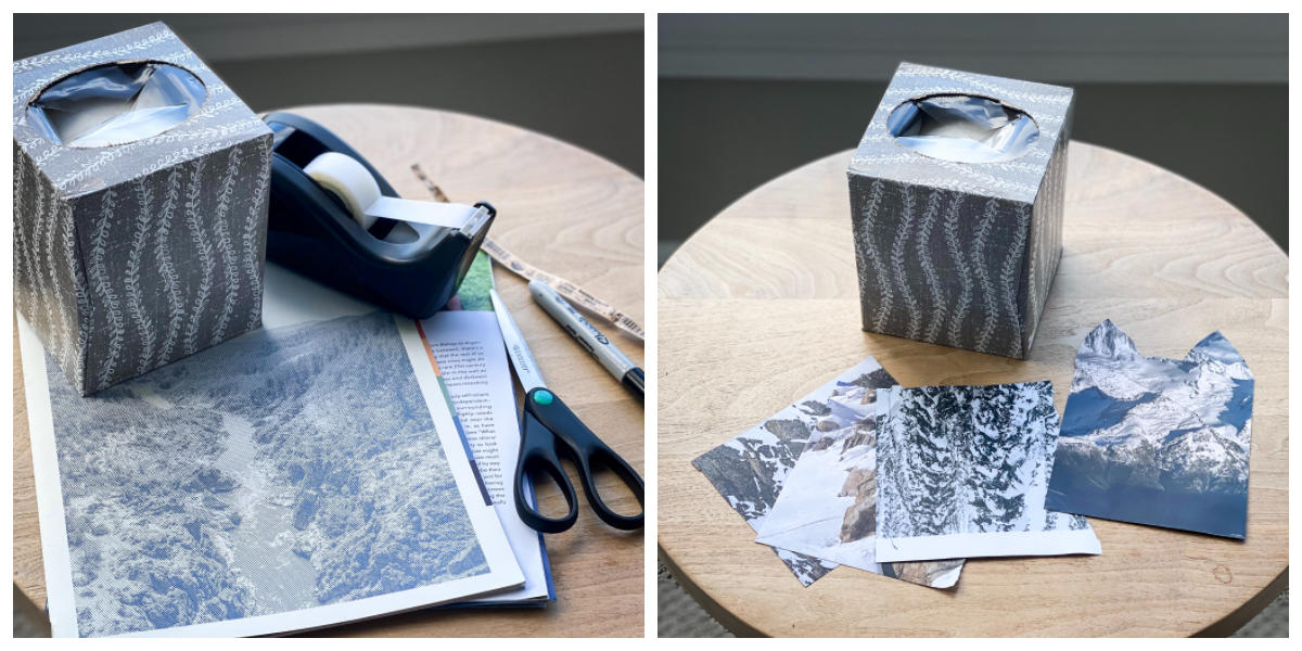 Tissue box with paper cut out, ready to make a craft