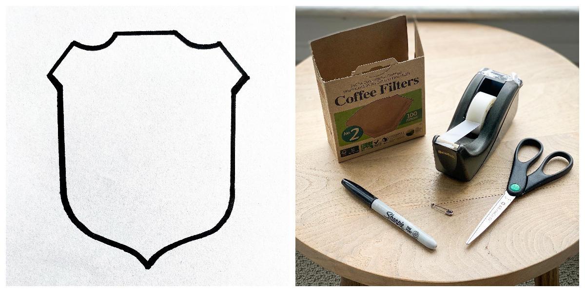 Coffee filter, ranger badge stencil
