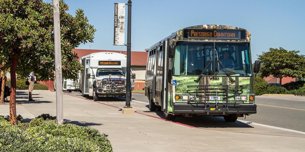 PresidiGo buses at the Transit Center in the Presidio of San Francisco.