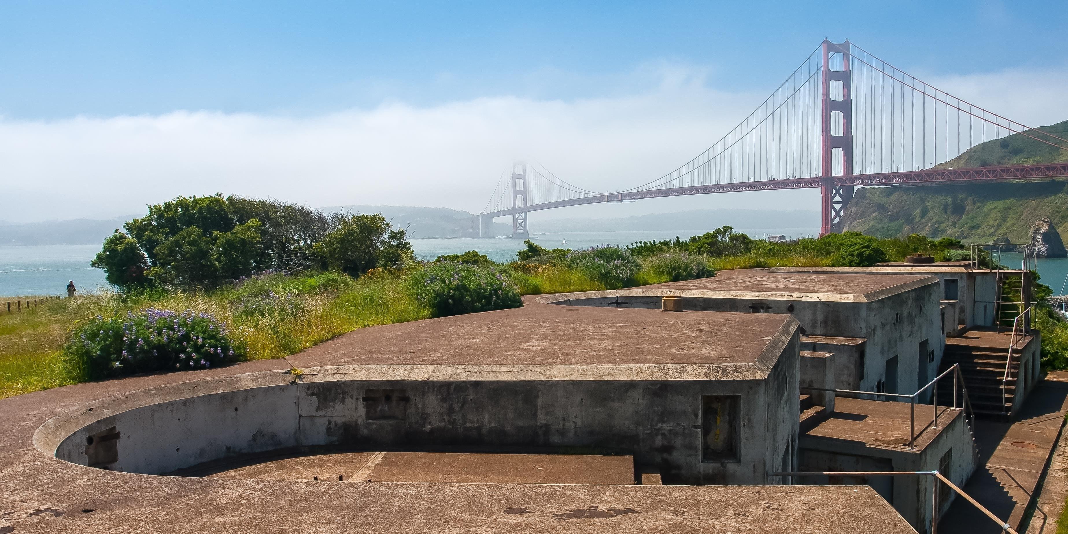 Golden Gate Bridge view from Battery Yates at Fort Baker