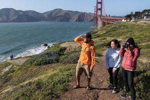 Hiking at the Golden Gate Overlook near the Golden Gate Bridge.