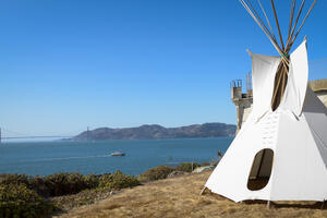 Tipi on Alcatraz with Golden Gate Bridge in background