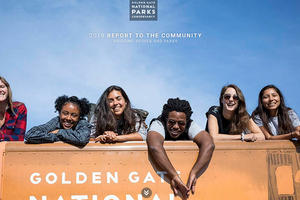 Cover of the Golden Gate National Parks Conservancy's 2019 Report to the Community: 'Bridging People and Parks'