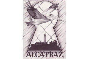 Illustration of Alcatraz as seen through a keyhole, behind a chain link fence as a pelican flies by