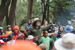 National Park Service Ranger with Summer Campers