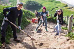 Volunteers work at Fort Funston