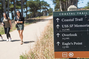 Woman on trail at Lands End