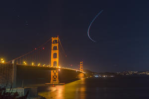 Starry sky above the Golden Gate Bridge