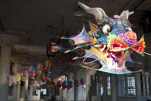 Colorful dragon suspended in an old Alcatraz prison building