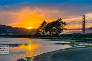 Sunset over salt marsh, Crissy Field