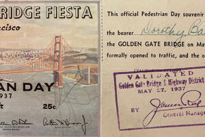 Image of ticket from Golden Gate Bridge opening day in 1937.