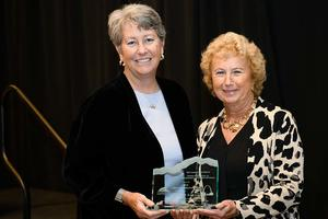 Chris Lehnertz (left) with her award's namesake, former National Park Service Director Fran Mainella, at the Hartzog awards ceremony