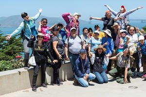 Participants in a shuttle trip to Lands End in 2018 via the San Francisco Public Library's Summer Stride program.