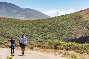 Hikers in the Marin Headlands.