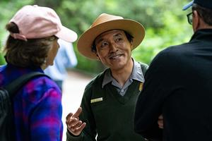 National Park Service Ranger Todd Hisaichi at Muir Woods National Monument.