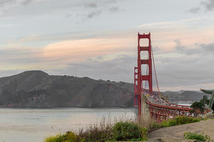 View of the Golden Gate Bridge and Marin Headlands from the Presidio batteries