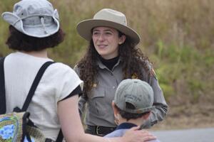 Park Ranger Lara Volski helps visitors.