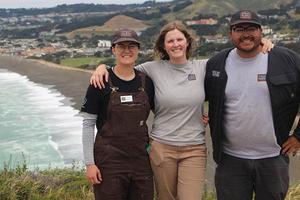 From left, San Mateo Park Stewardship intern Laurasia Holzman Smith, Community Programs Manager Georgia Vasey, and intern Samuel Peña.