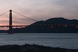 Golden Gate Bridge webcam sunset view, December 2019