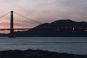 Golden Gate Bridge webcam sunset view, December 2019