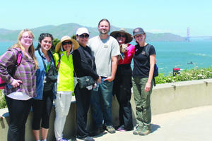 Group on guided walk in the Presidio.