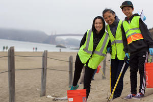 Volunteers participating in a beach cleanup
