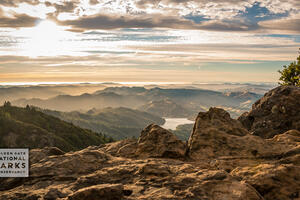 Sunset at Mt. Tam with clouds, rocks and mountains visible