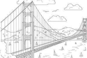 Coloring page of Golden Gate Bridge