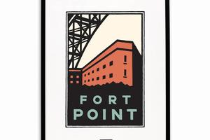 Framed Schwab graphic of Fort Point below the Golden Gate Bridge