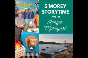 National Park Service Ranger Mariajosé presents S'morey Storytime at a virtual campsite with a plush Coyote doll.