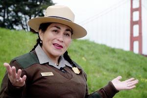 Park Ranger in front of Golden Gate Bridge