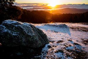 Snow on a boulder on mount tam at sunrise.