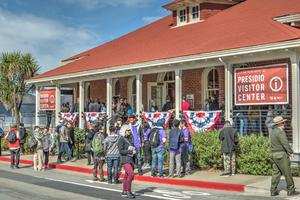 In February 2017, park visitors and members of the community gathered for the opening of the new William Penn Mott, Jr. Presidio Visitor Center. The new center is located on the Main Post, in view of the Golden Gate Bridge