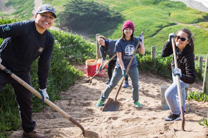 Volunteers at the sand ladder at Fort Funston
