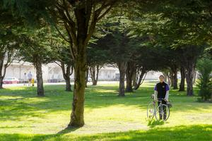 Cyclist rests by the trail through east Crissy Field