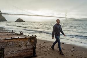 Golden Gate Bridge at sunrise from Kirby Cove