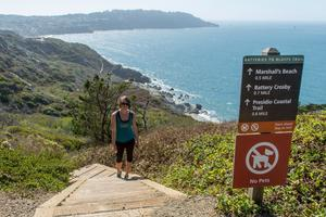 Box steps challenge hikers along the Batteries to Bluffs Trail