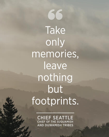 """""""""""Take only memories, leave nothing but footprints."""" - Chief Seattle"""