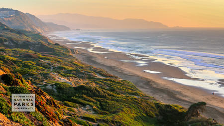 The shoreline of Fort Funston stretches out during sunset