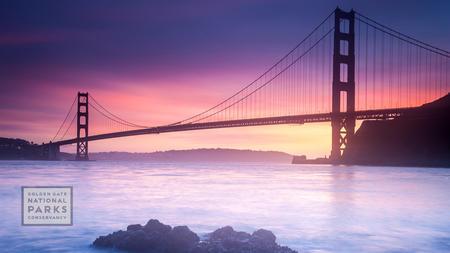 Golden Gate Bridge at sunset, taken from Fort Baker in Marin County