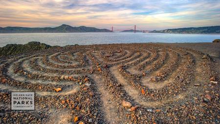 Lands End labyrinth at sunset